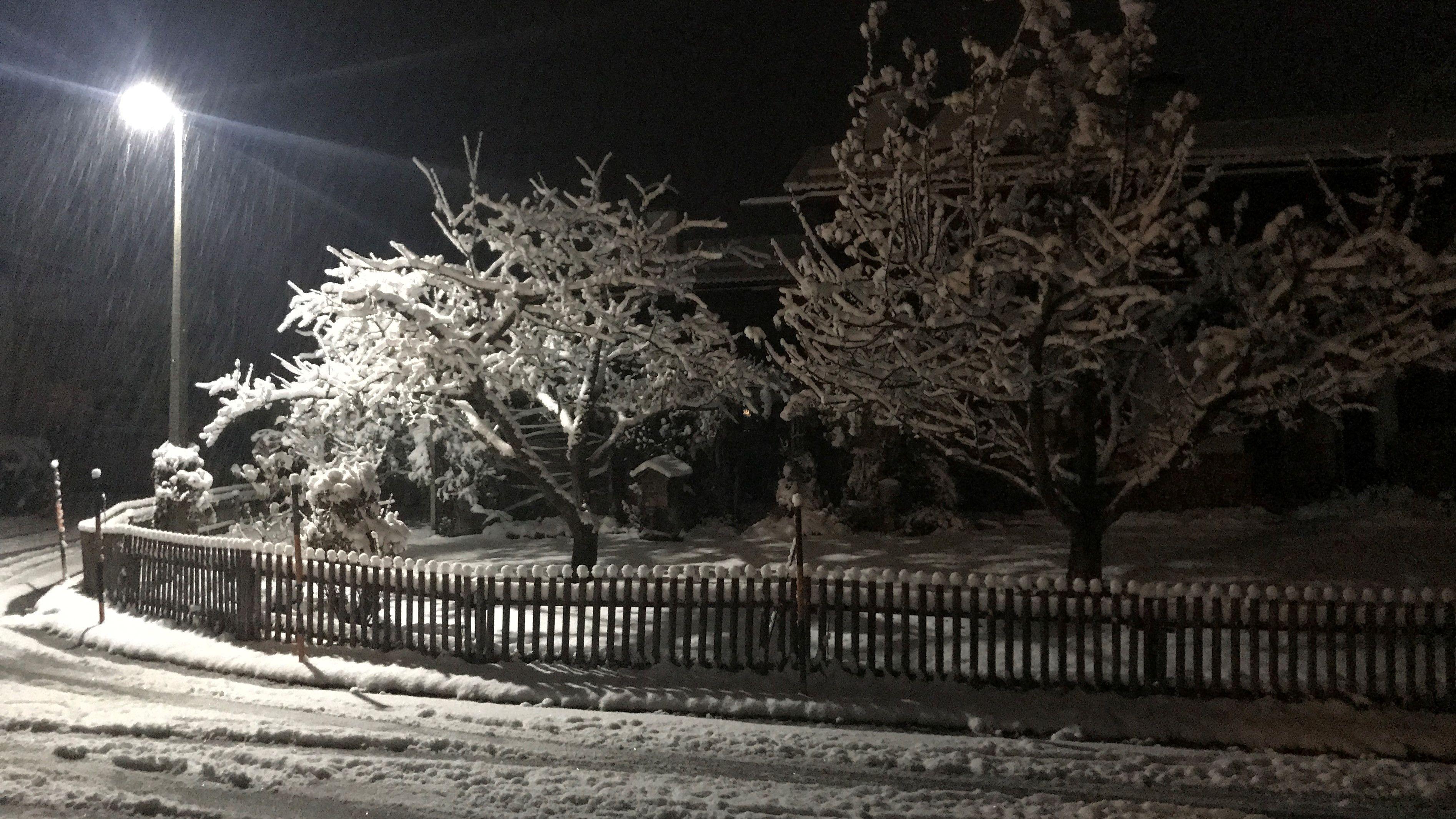 Schnee auf Straßen und Bäumen in Inzell