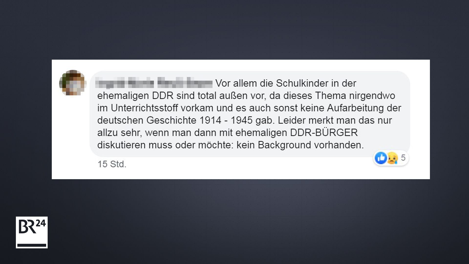 Vor allem die Schulkinder in der ehemaligen DDR sind total außen vor, da dieses Thema nirgendwo im Unterrichtsstoff vorkam und es auch sonst keine Aufarbeitung der deutschen Geschichte 1914-1945 gab. Leider merkt man das nur allzu sehr, wenn man mit ehemaligen DDR-Bürgern diskutieren muss oder möchte...