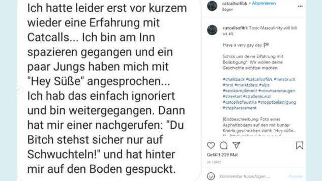 Über Instagram melden Betroffene die Vorfälle.