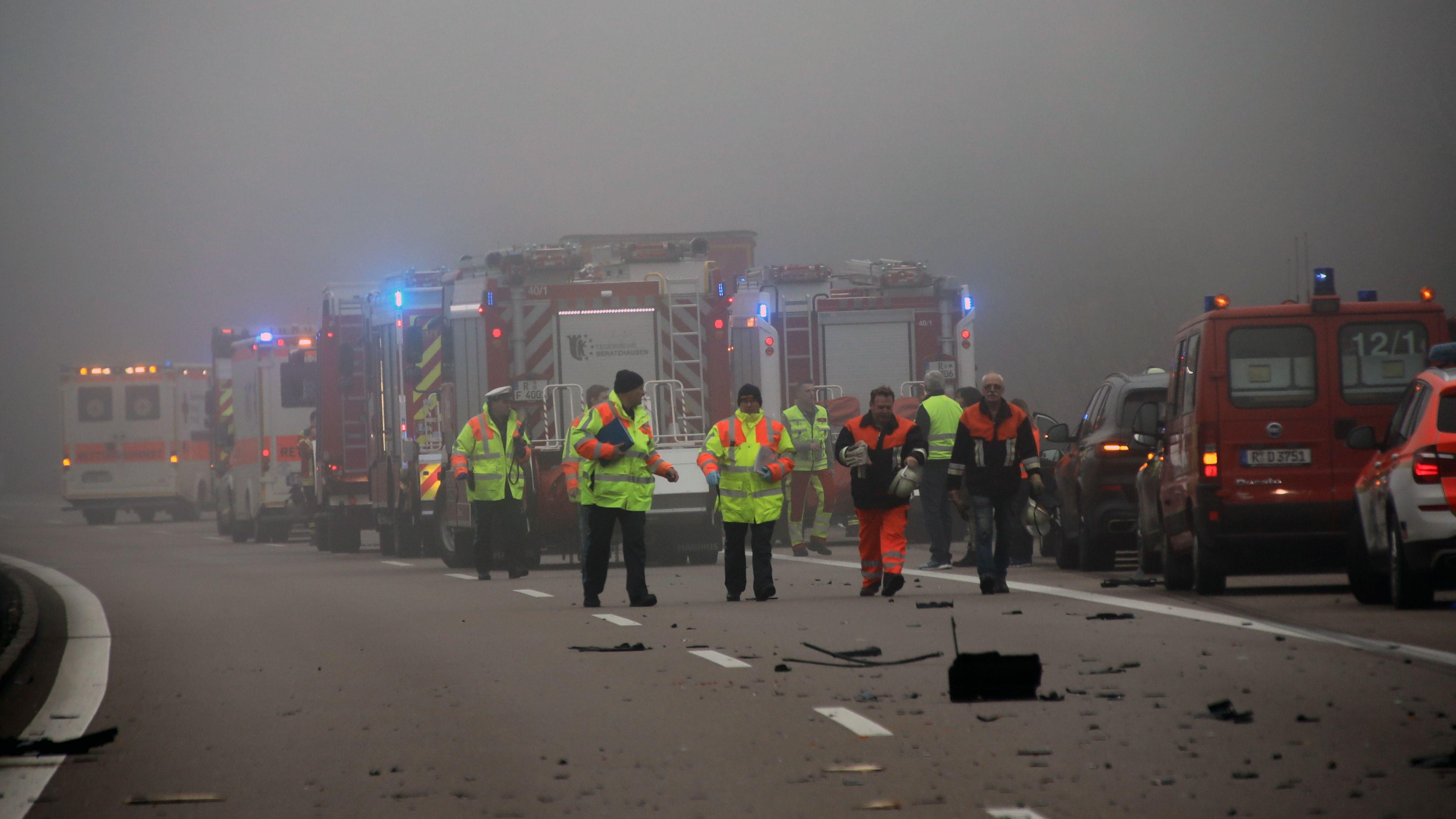 Die Unfallstelle auf der A3 bei Laaber: Zum Unfallzeitpunkt herrschte Nebel.