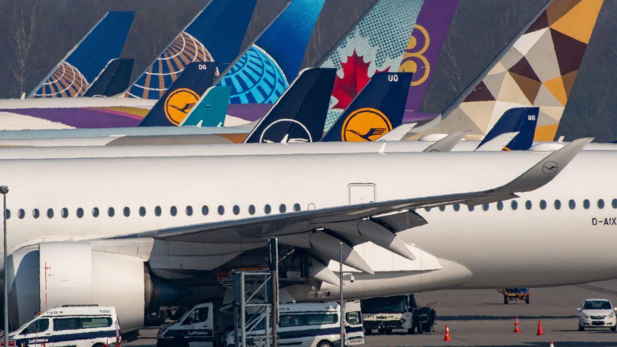Flugzeuge der Lufthansa stehen nebeneinander auf dem Flughafen München.