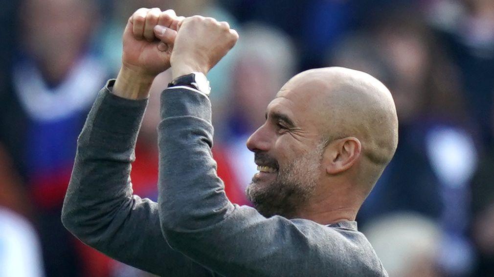 Manchester-Trainer Pep Guardiola jubelt über die Meisterschaft