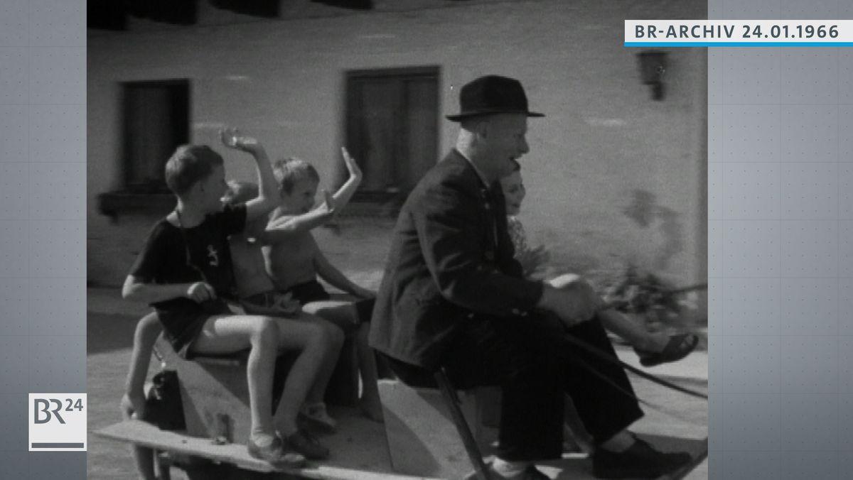 Fröhliche Kinder bei einer Kutschfahrt