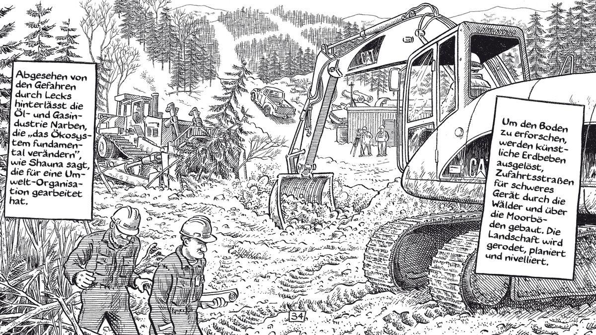 """Ausschnitt aus einer Seite von Joe Saccos großer Comic-Reportage """"Wir gehören dem Land"""". Das Bild zeigt die Zerstörung von Wäldern durch den Abbau von Rohstoffen."""