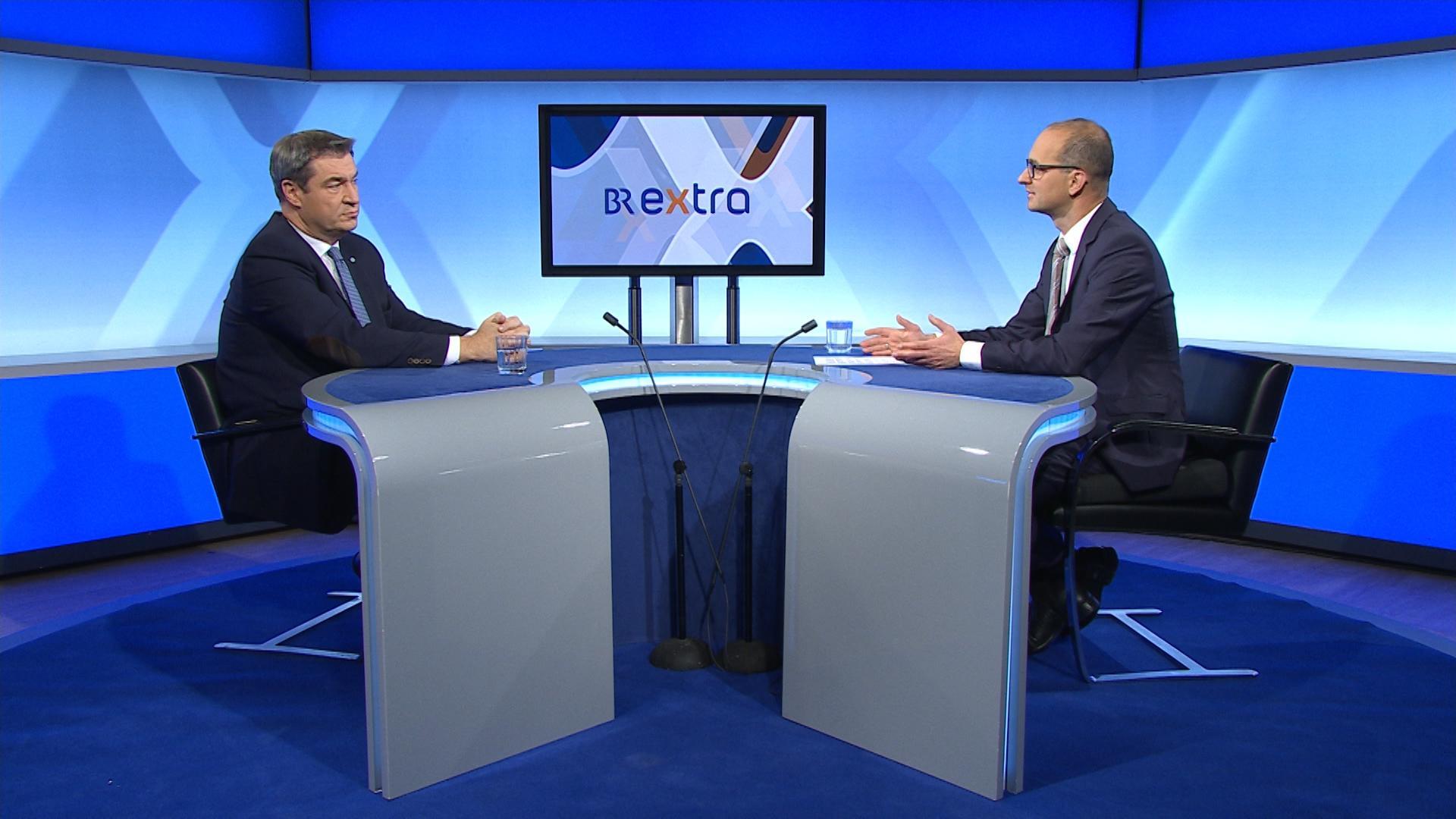 BR Extra mit Ministerpräsident Markus Söder und Chefredakteur Christian Nitsche