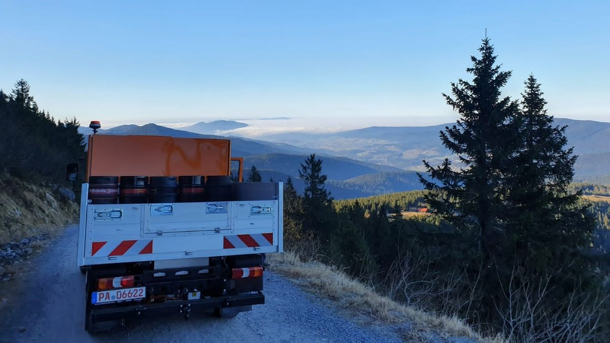 Der Elektro-Laster auf dem Weg zum Großen Arber