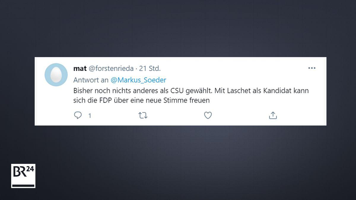 Ein Tweet auf Twitter zur K-Frage in der Union