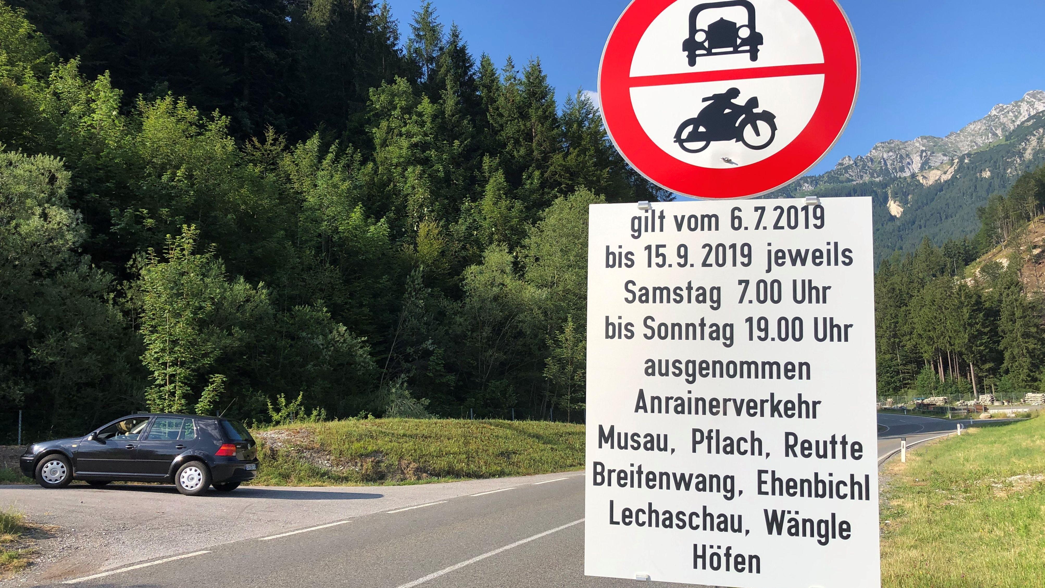 Fahrverbote in Tirol, erstmals an diesem Wochenende auch in Reutte.