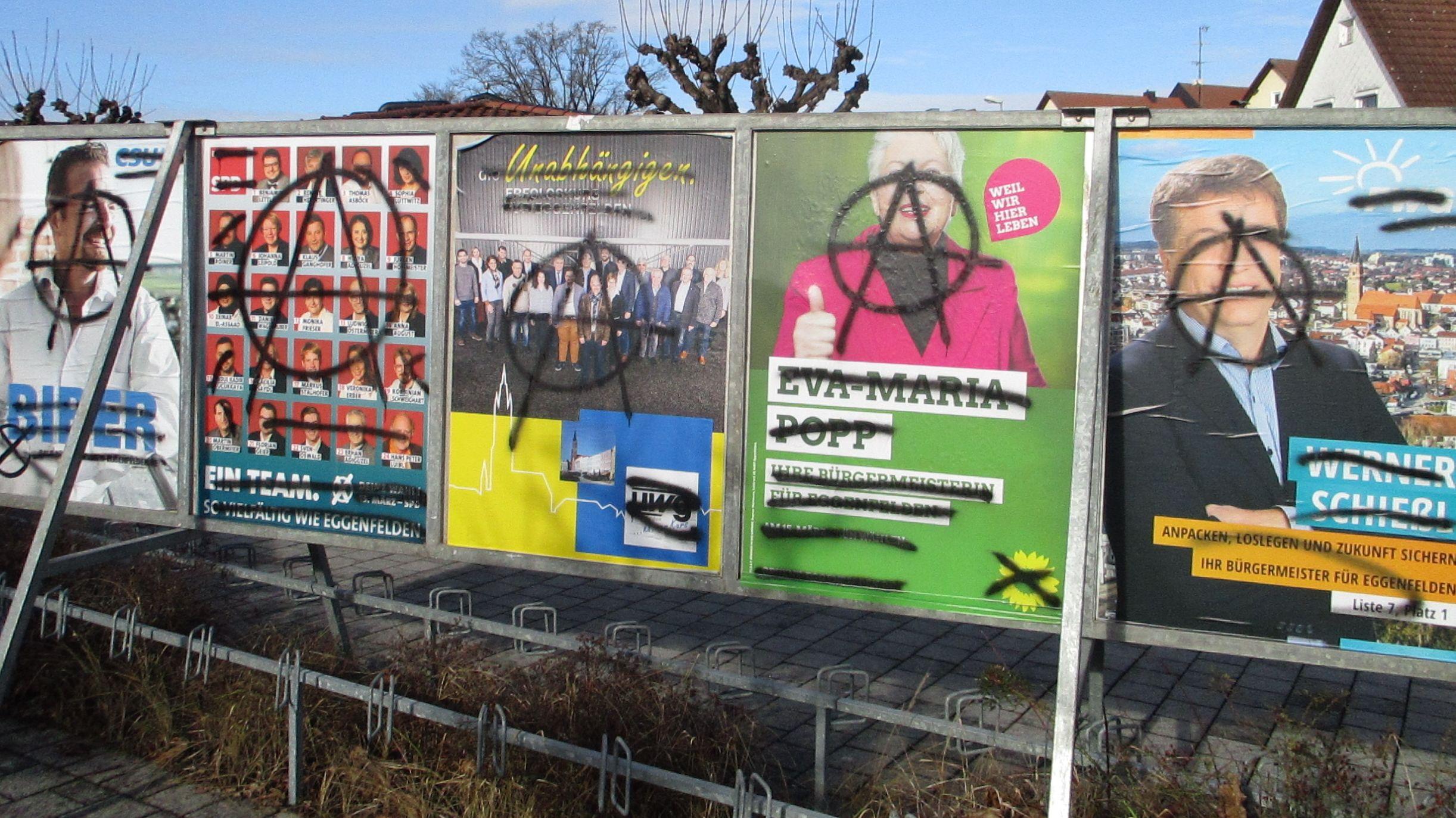 Beschmierte Wahlplakate in Eggenfelden