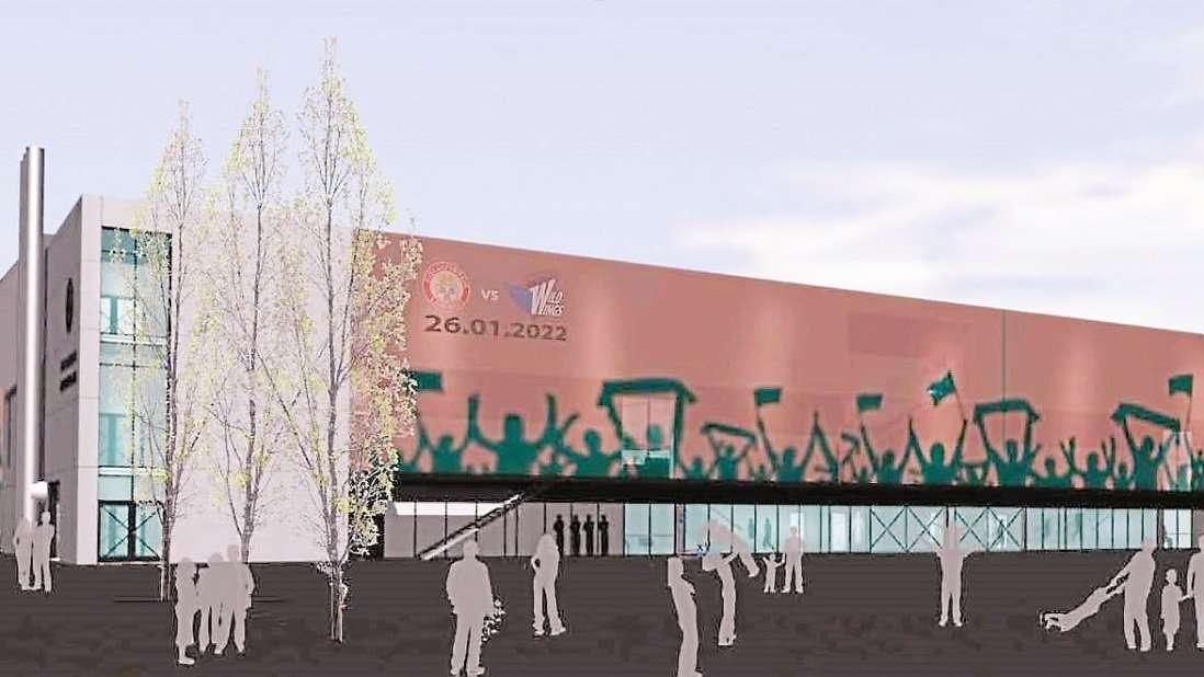 So soll das Eishockeystadion nach der Sanierung von außen aussehen.