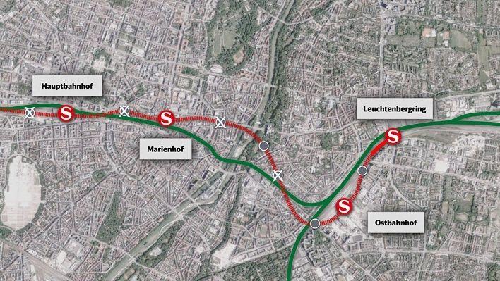 Geplanter Verlauf der zweiten Stammstrecke in München