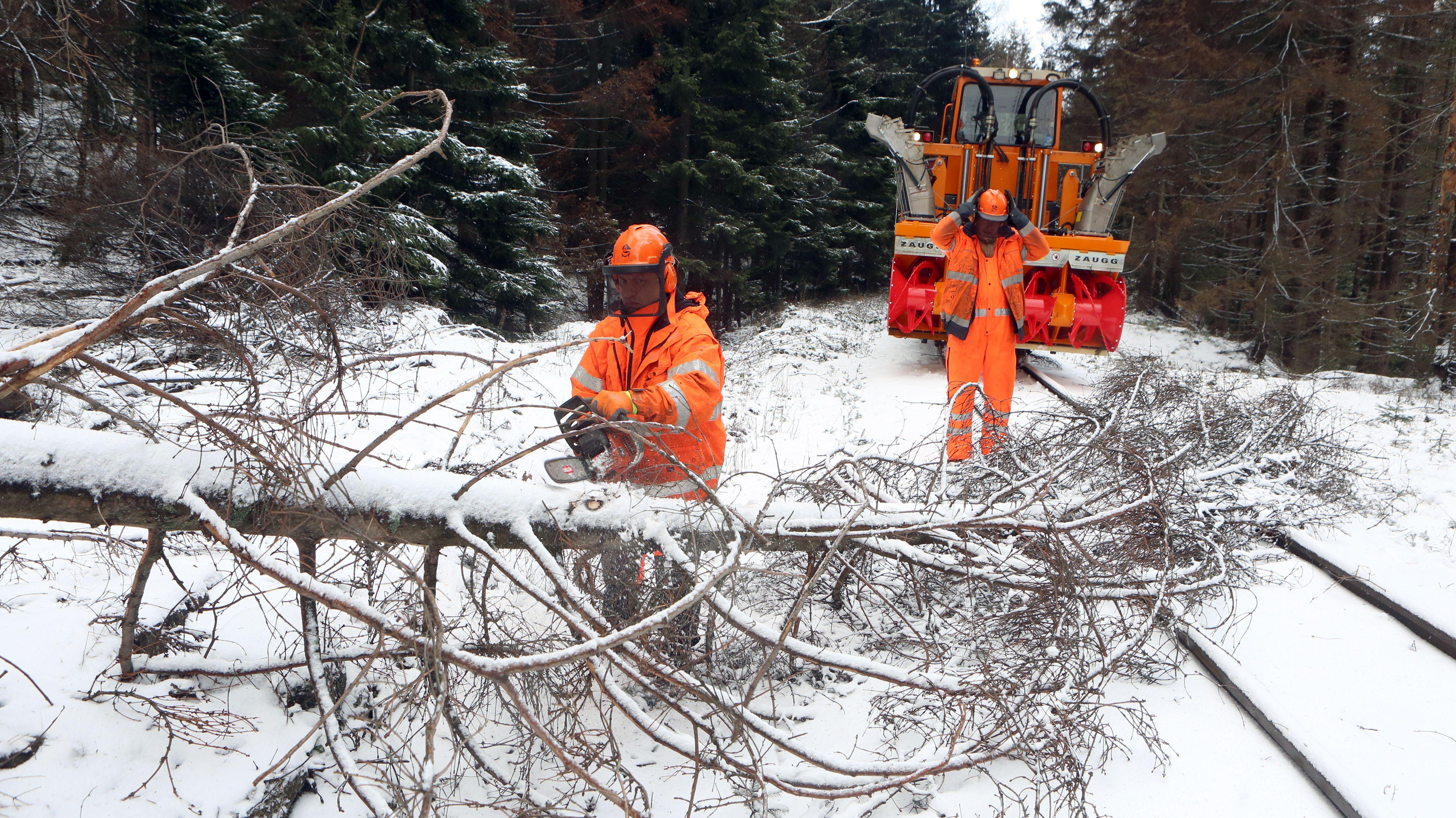Die Feuerwehr entfernt nach Sturm Sabine am 11.02. Bäume von den Gleisen.