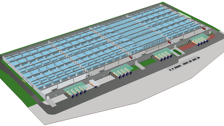 So sieht das geplante Logistikgebäude in einer Computersimulation aus.