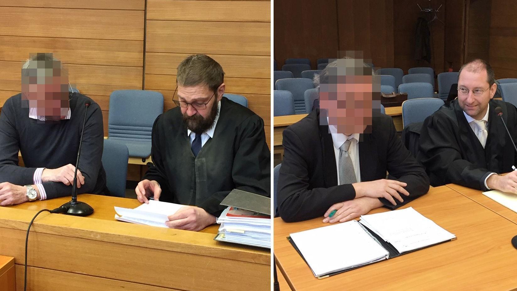 Die Angeklagten im Traunsteiner Betrugsprozess mit ihren Anwälten