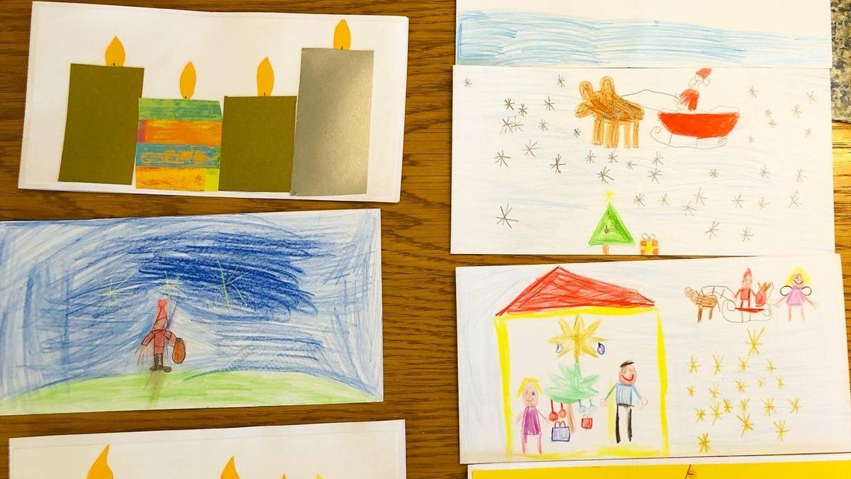 Kinder basteln 500 Weihnachtskarten für Senioren in Grafenrheinfeld