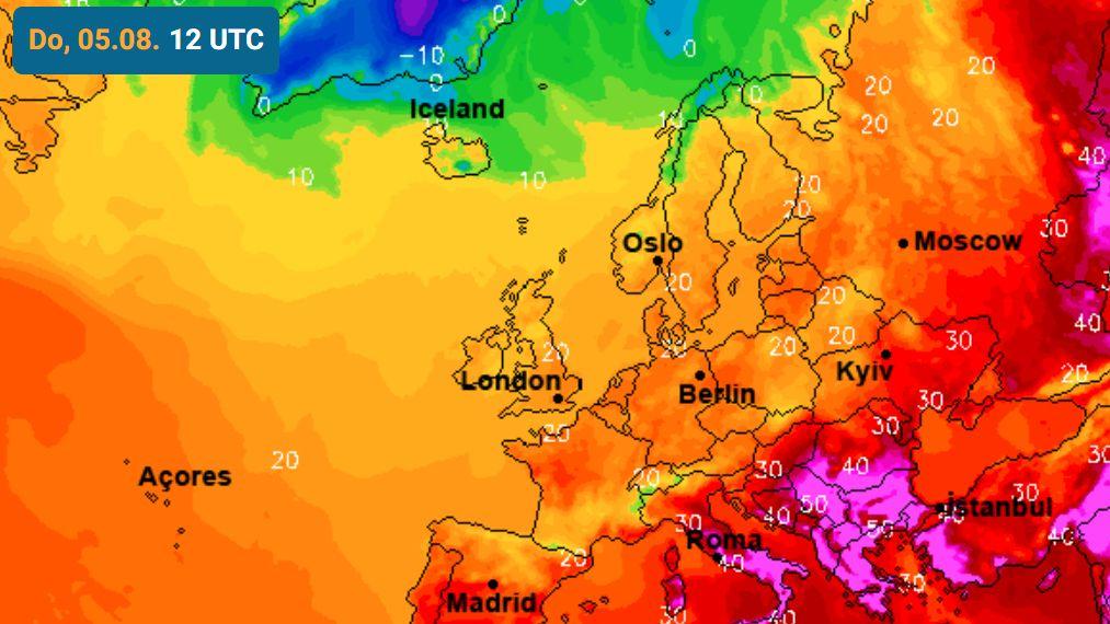 """Prognosekarte der sogenannten """"gefühlten Temperatur"""""""