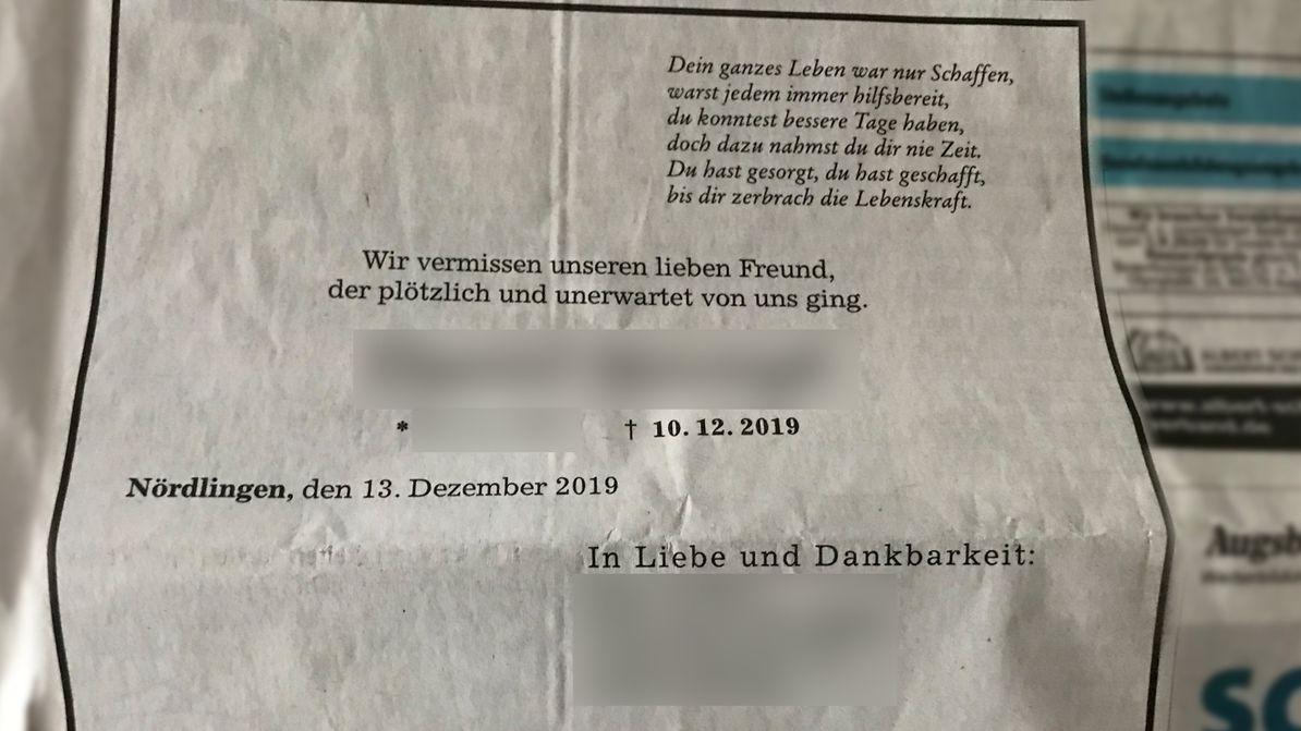 Falsche Todesanzeige im Nördlinger Cyber-Mobbing-Fall