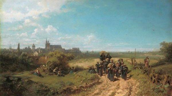 """Das Gemälde """"Der Institutsspaziergang"""", das Carl Spitzweg um das Jahr 1860 herum malte"""