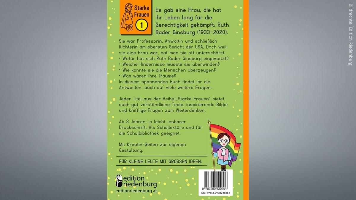 """Rückseite des Buches """"Ruth Bader Ginsburg. Richterin für Gerechtigkeit"""""""