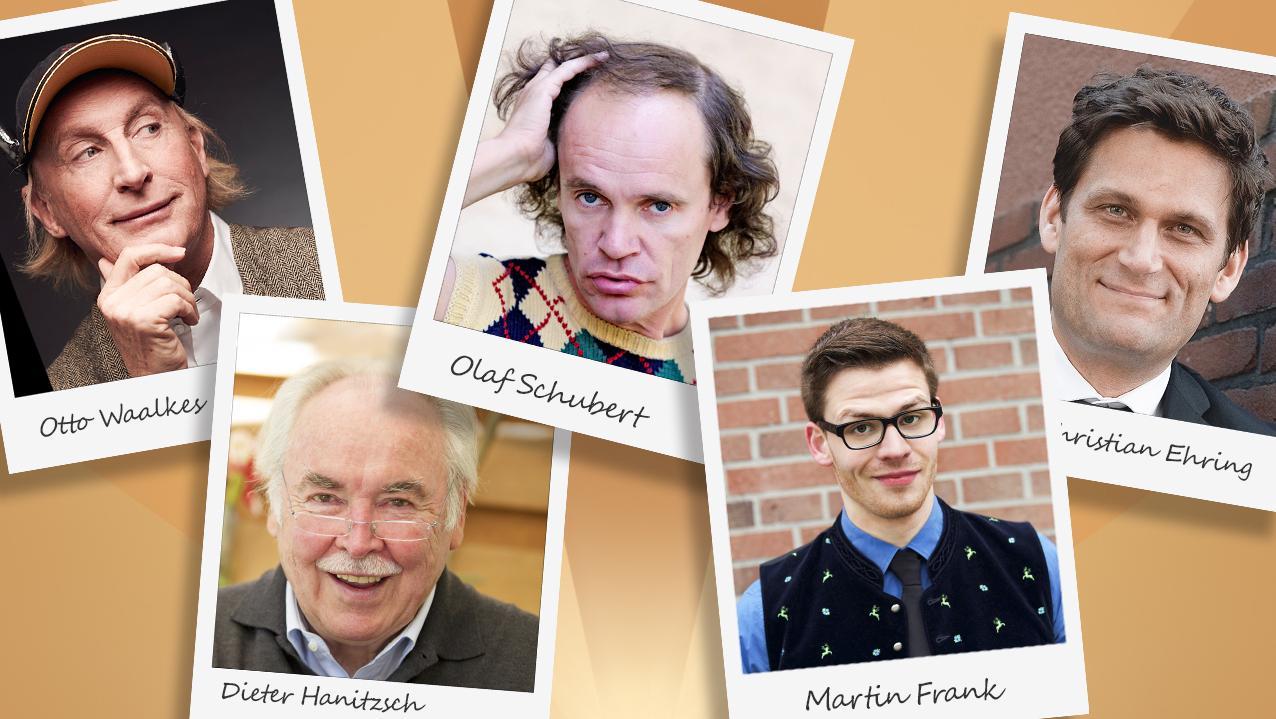 Otto Waalkes, Dieter Hanitzsch, Olaf Schubert, Martin Frank und Christian Ehring eingebaut in einer Bildercollage