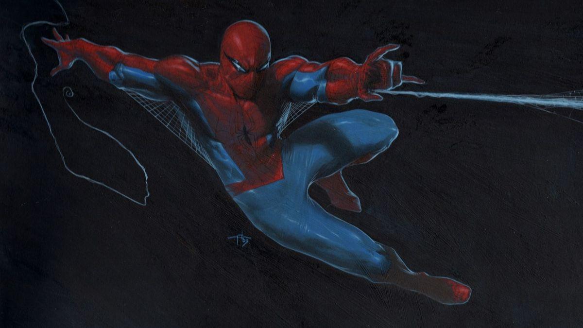Spider-Man mit dem typischen rot-blauen Ganzkörperanzug