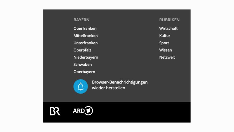 """Klicken Sie auf """"Browser-Benachrichtigungen wieder herstellen"""", um wieder Zugriff auf die Abo- und Verwalten-Optionen zu erhalten."""