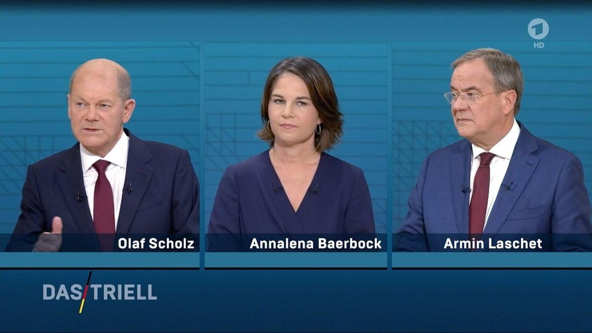 Die Kanzlerkandidaten von Bündnis 90/Die Grünen, CDU und SPD, Baerbock, Laschet und Scholz, in einer TV-Diskussion bei ARD und ZDF.