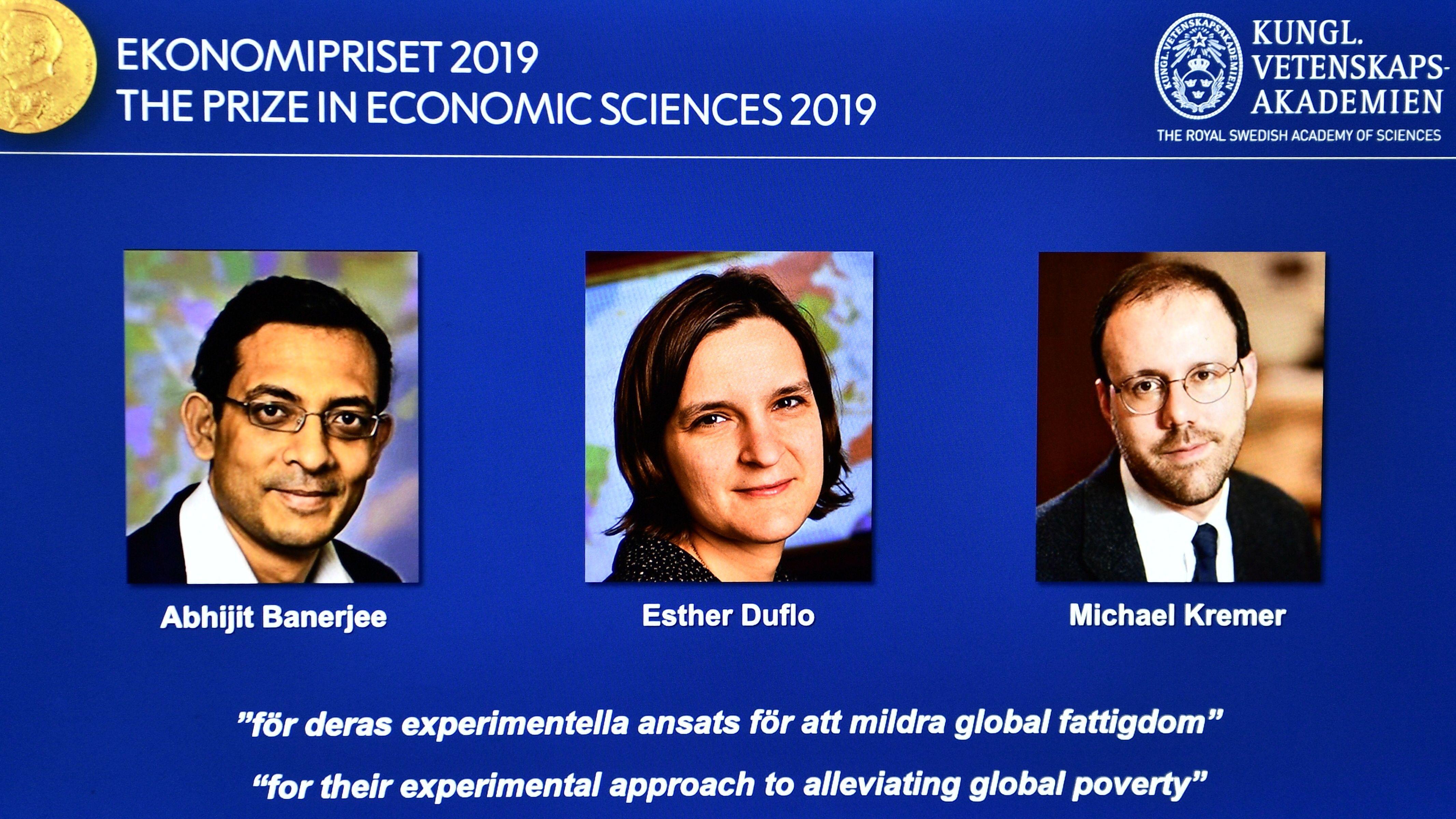 Präsentation der diesjährigen Preisträger des Wirtschaftsnobelpreises in Stockholm.