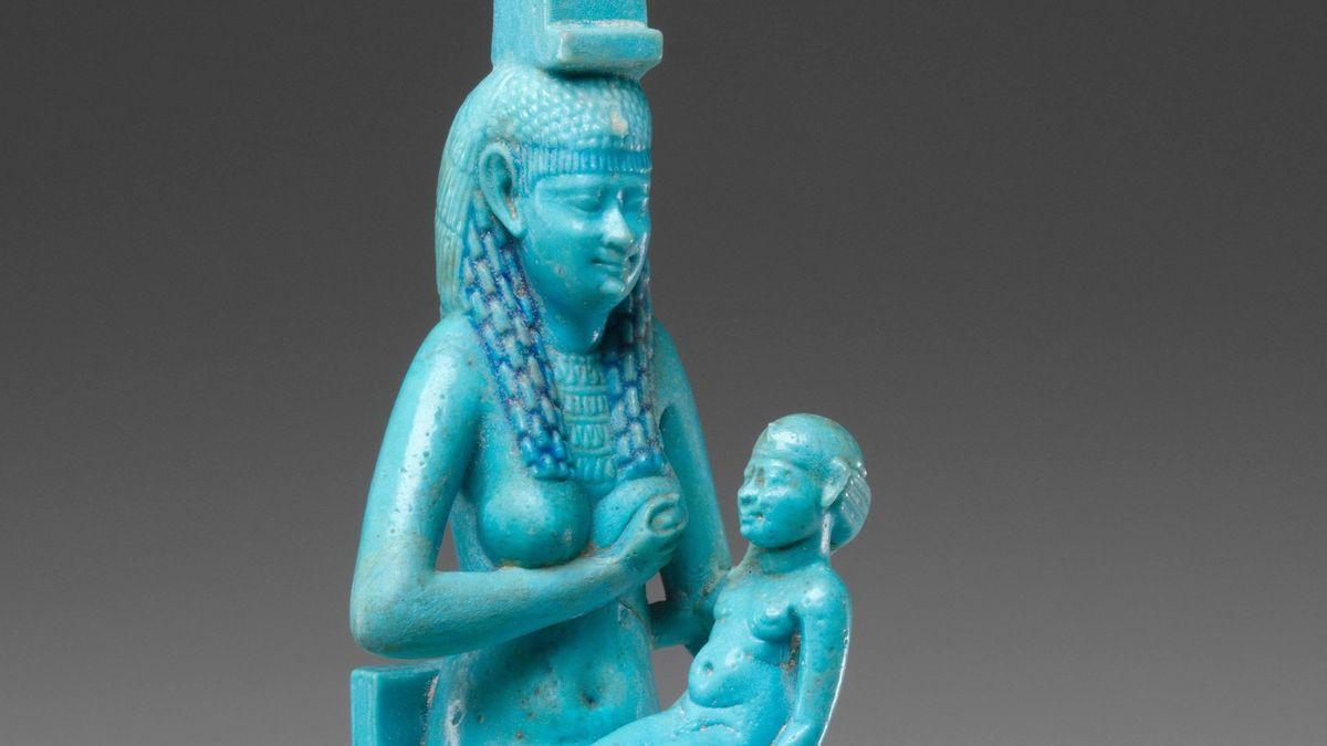 Statue der ägyptischen Königin Isis mit Horus