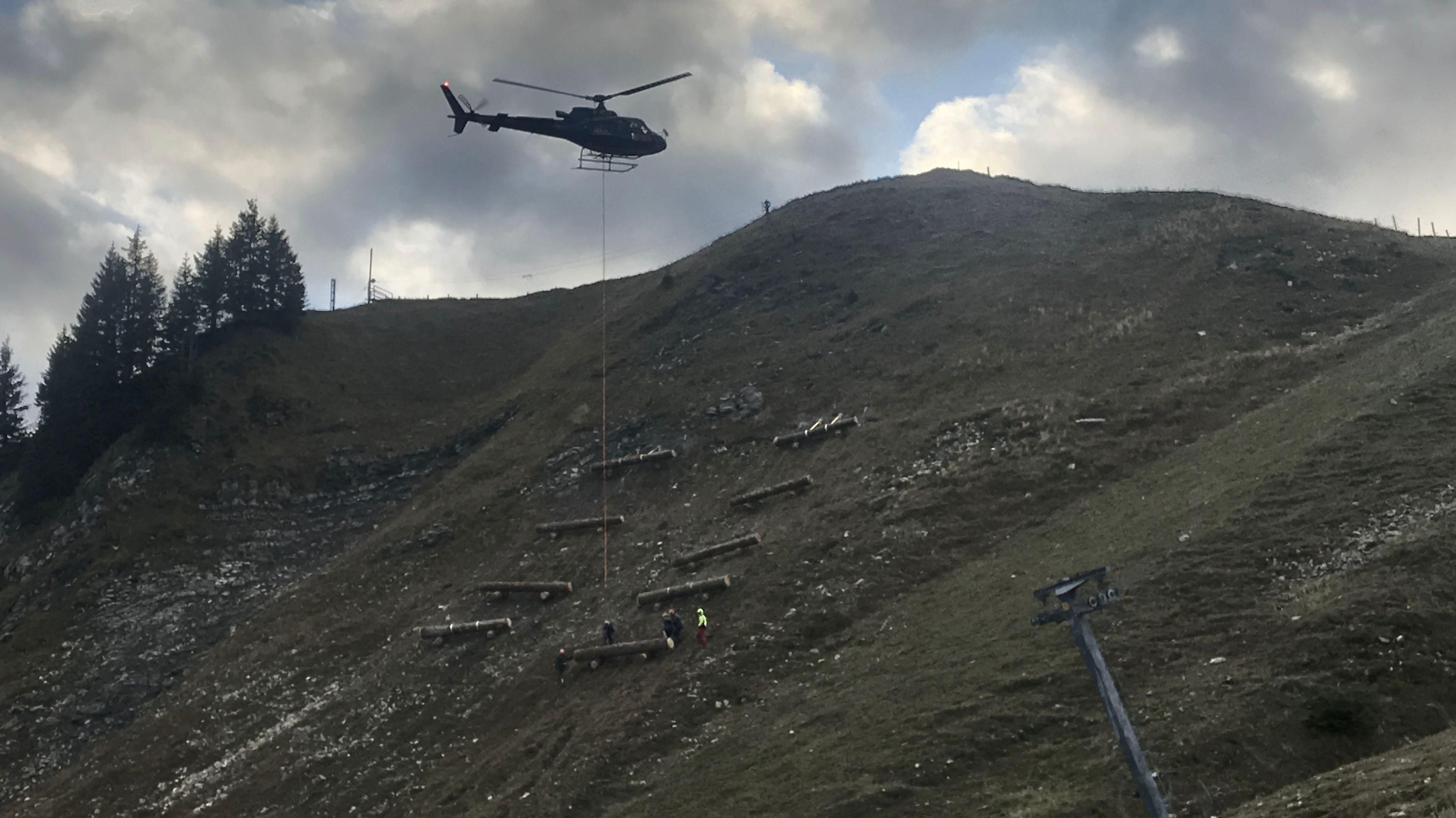 Ein Hubschrauber bringt die schweren Holzstämme in das Gelände