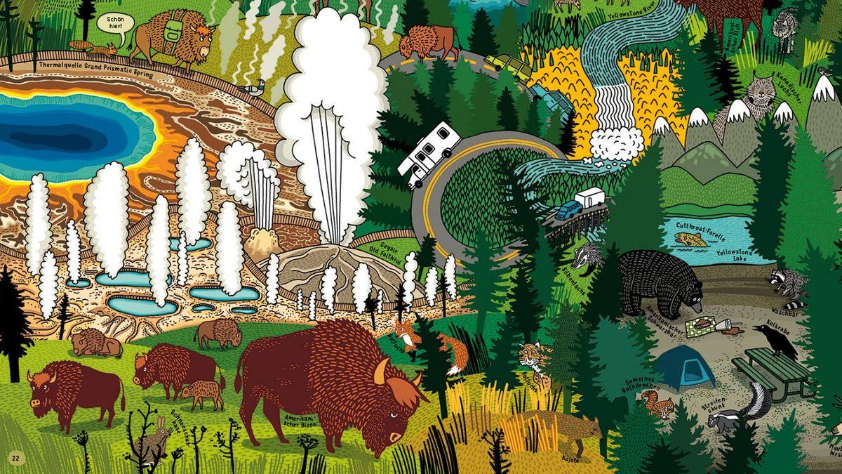 """Detail aus """"Auf nach Yellowstone! Was Nationalparks über die Natur verraten"""": Bisons weiden auf einer Wiese, Bären beschnuppern die Essensreste von Campern, Wasserdampf steigt aus der Erde auf uvw."""