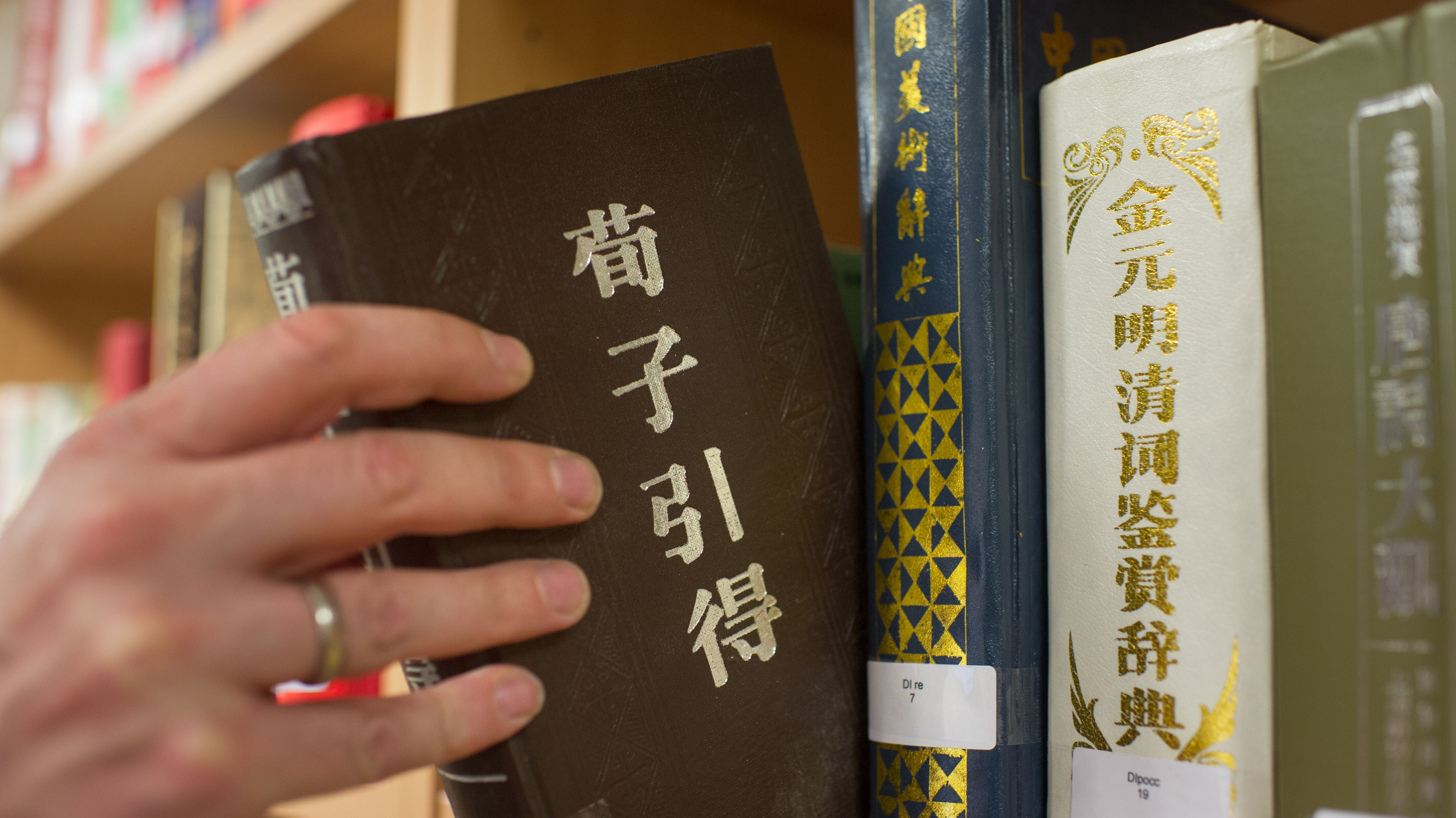 Ein Mann zieht in der Bibliothek eines Konfuzius-Instituts ein Buch aus dem Regal.
