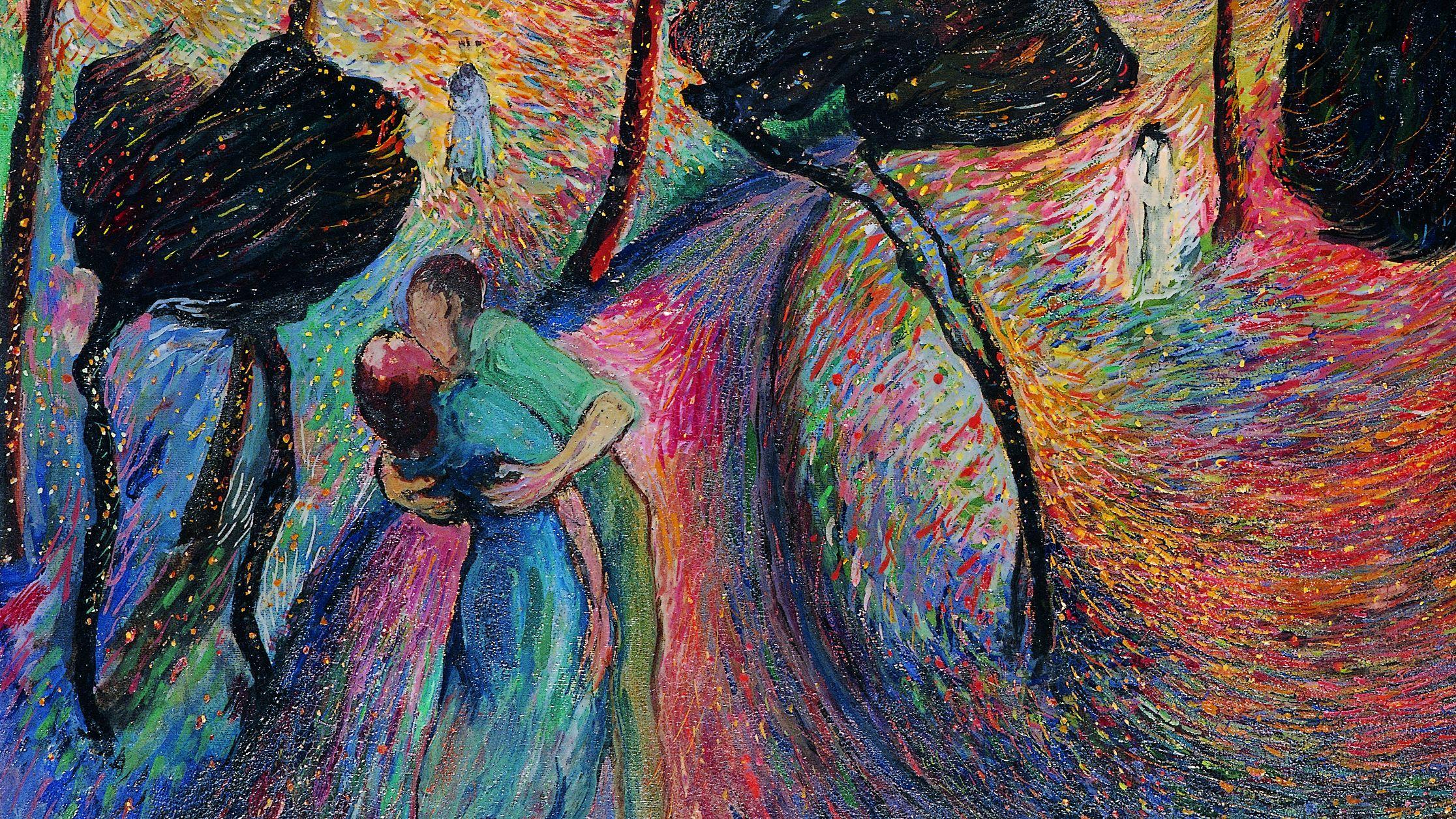 """""""Liebeswirbel"""" von Marianne von Werefkin (Bildausschnitt): Ein Paar umarmt sich vor grellfarbigem Hintergrund mit dunklen Bäumen"""