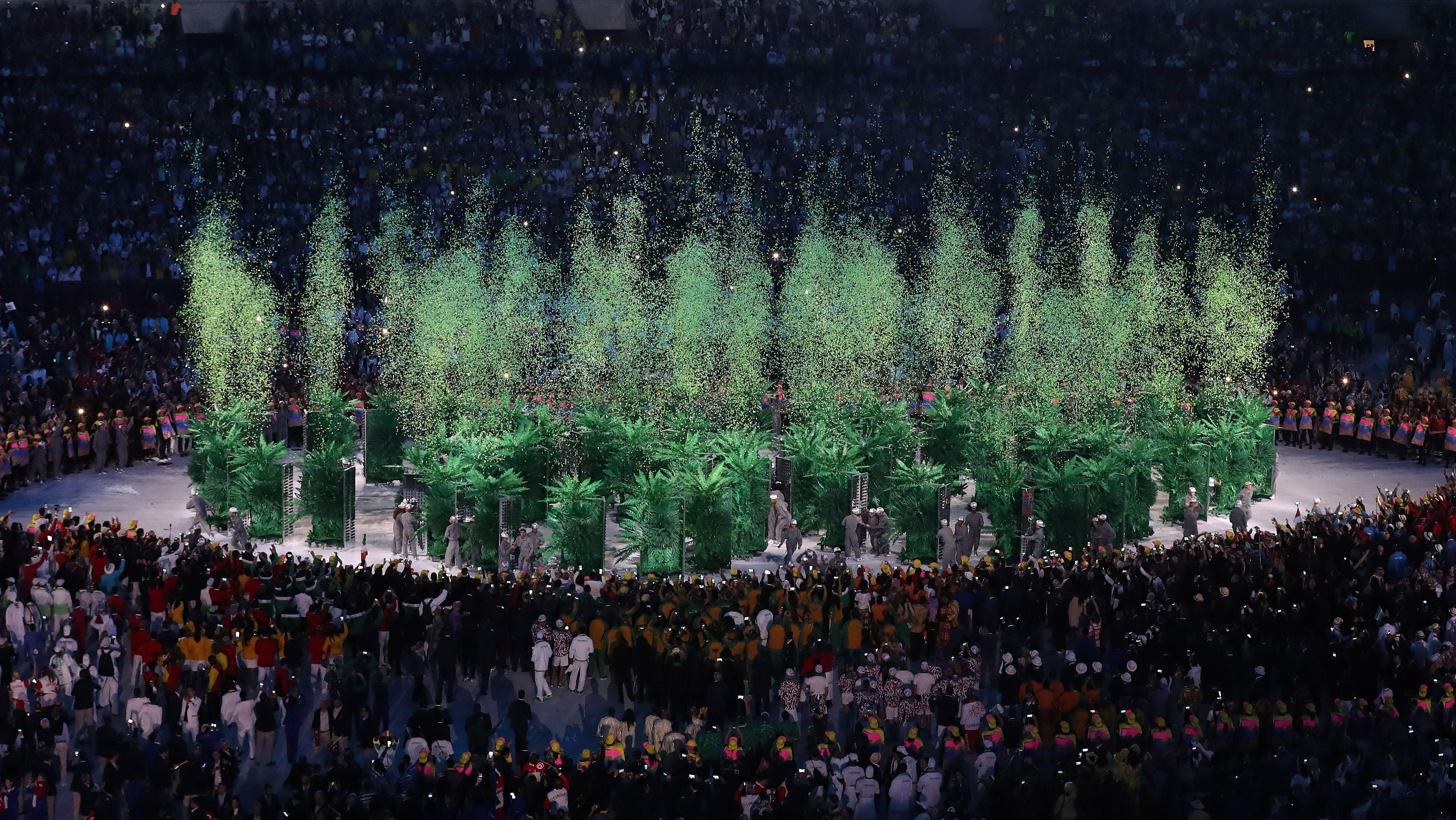 Ausschnitt aus dem Showprogramm der Eröffnungsfeier der Olympischen Spiele 2016 in Rio de Janeiro