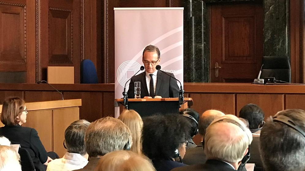 Bundesaußenminister Heiko Maas spricht im Rahmen des Nürnberg Forums 2018 im Saal 600. | Bild:BR-Studio Franken/Wenzel