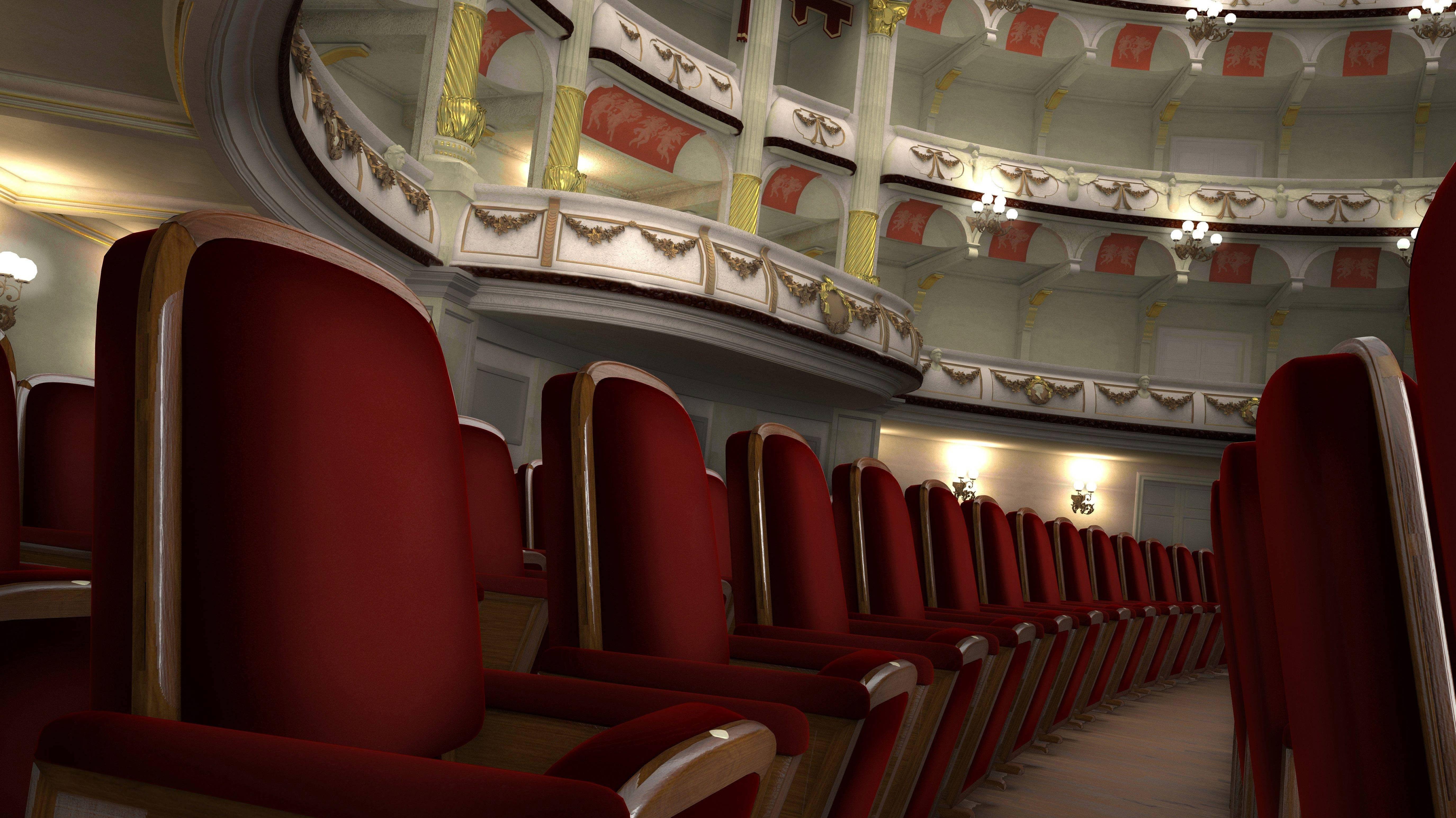 Leerer Zuschauerraum in einem Theater