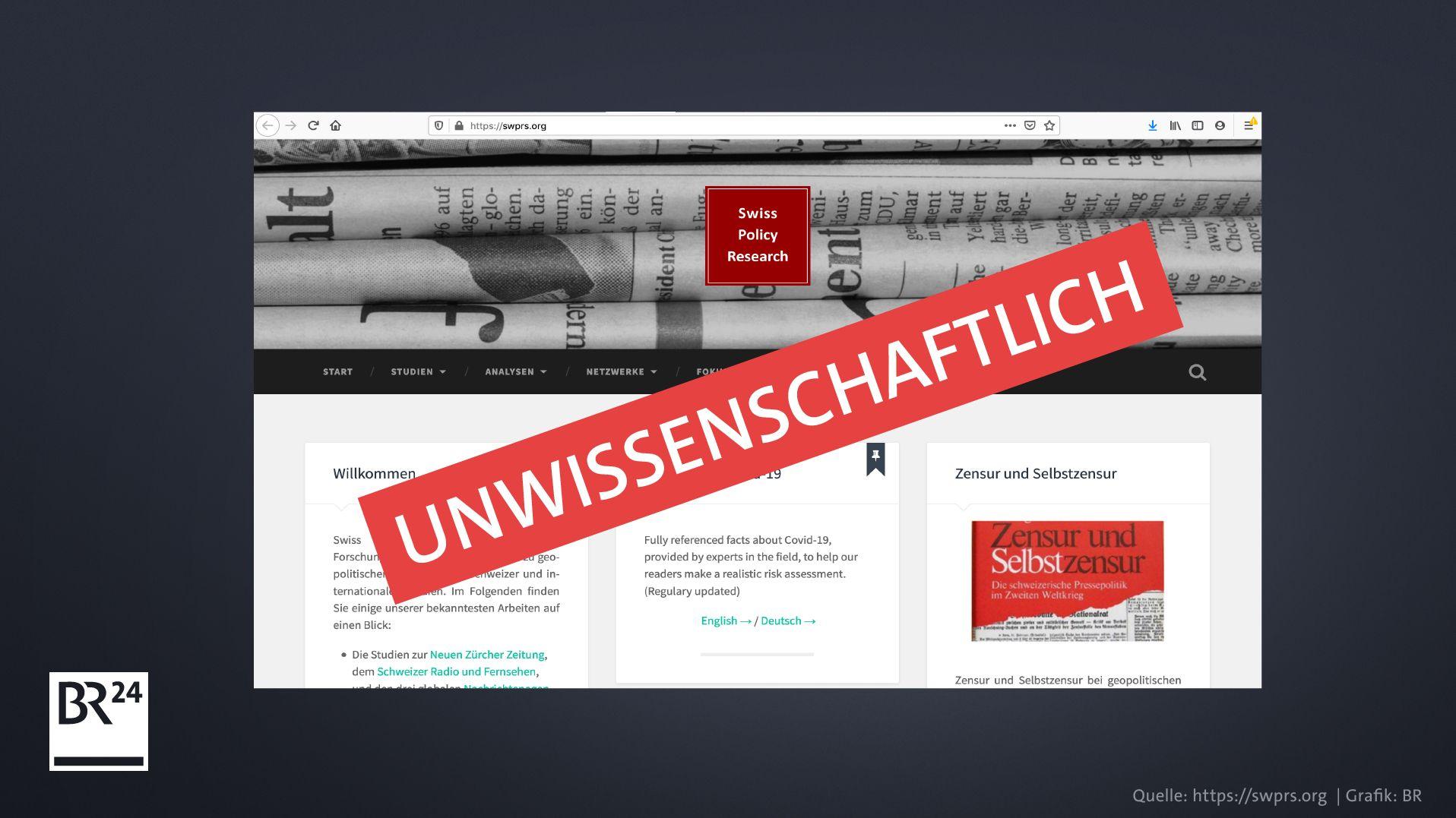 """Ein Screenshot der Webseite """"Swiss Policy Research"""", die als unwissenschaftlich einzustufen ist"""