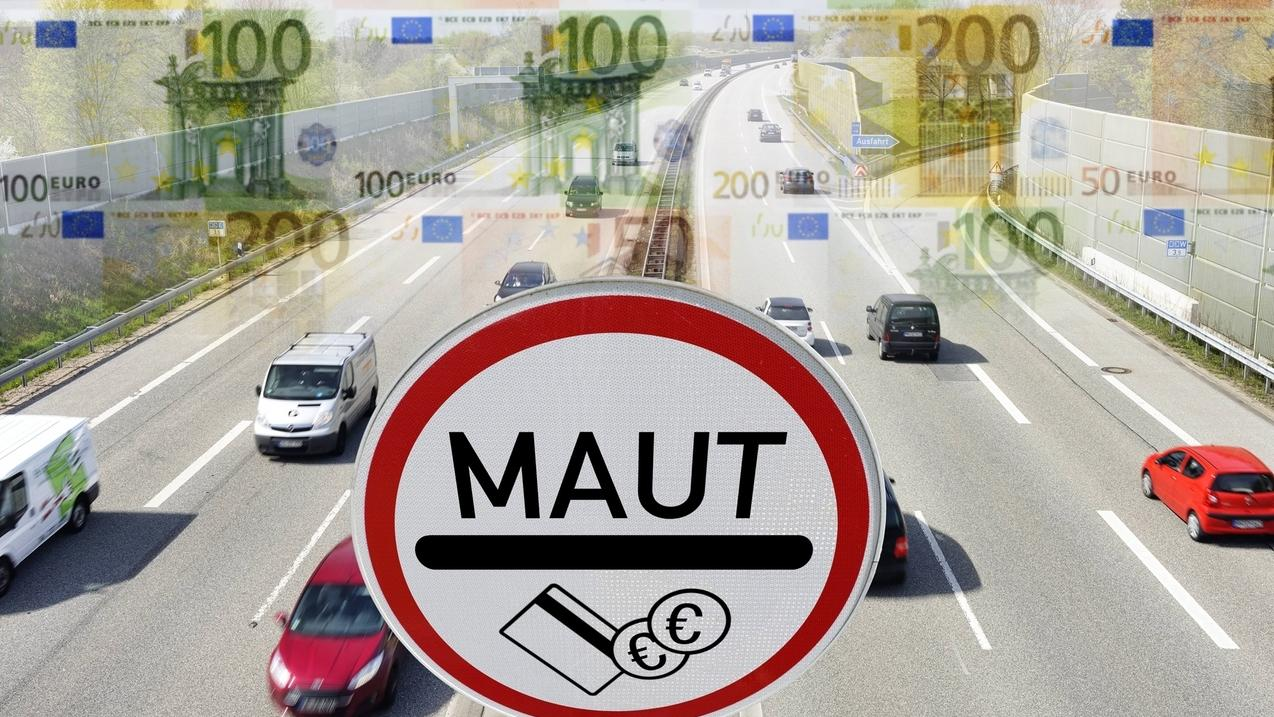 Autobahn, Maut-Schild und Geldscheine: Symbolfoto PKW-Maut
