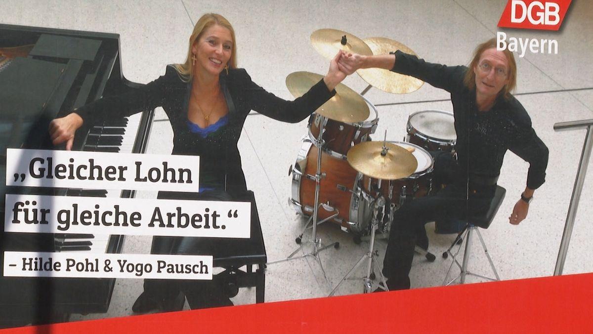 Musiker auf einem Plakat des DGB