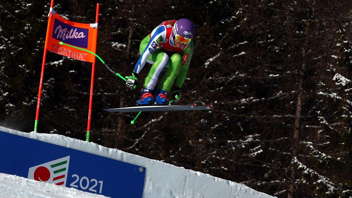 Ilka Stuhec auf der WM-Strecke in Cortina d'Ampezzo