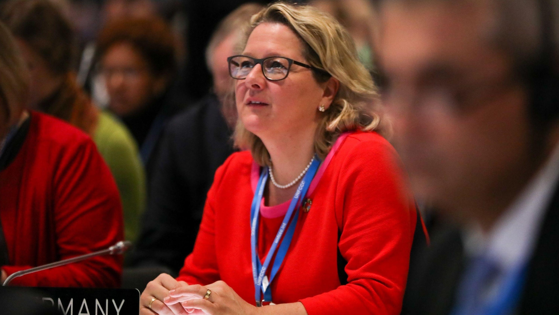Svenja Schulze (SPD), Umweltministerin, nimmt bei der UN-Klimakonferenz von Madrid an einer Veranstaltung teil.