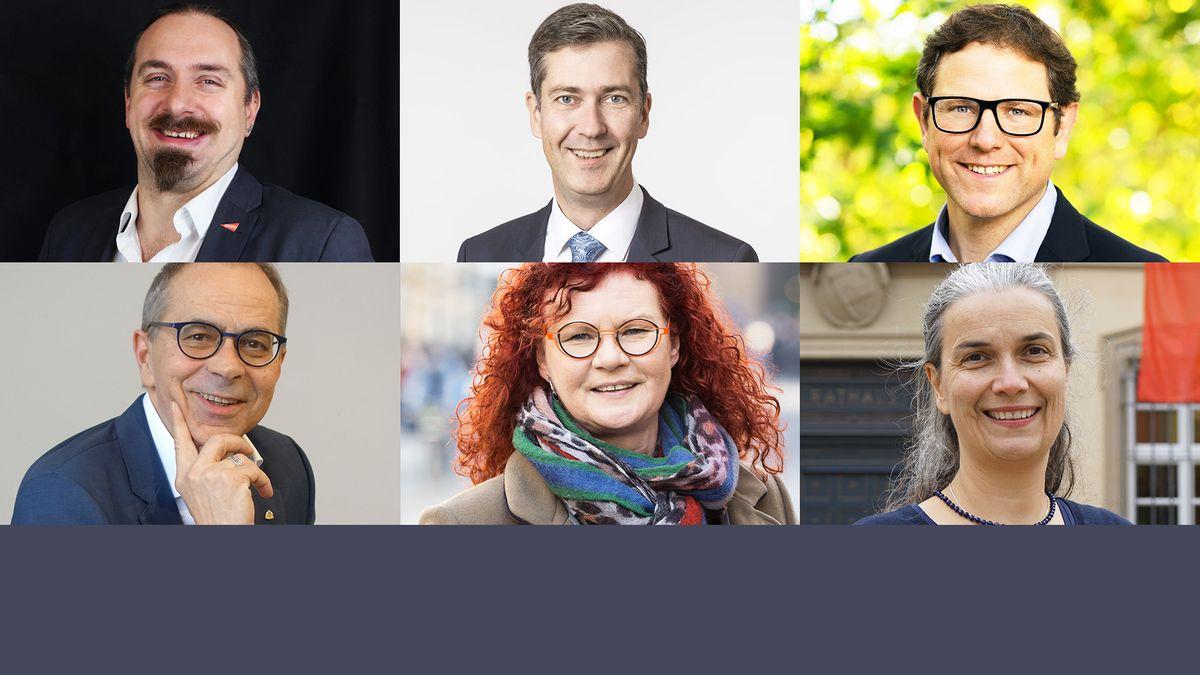Die sechs Kandidaten bei der Würzburger Oberbürgermeisterwahl 2020