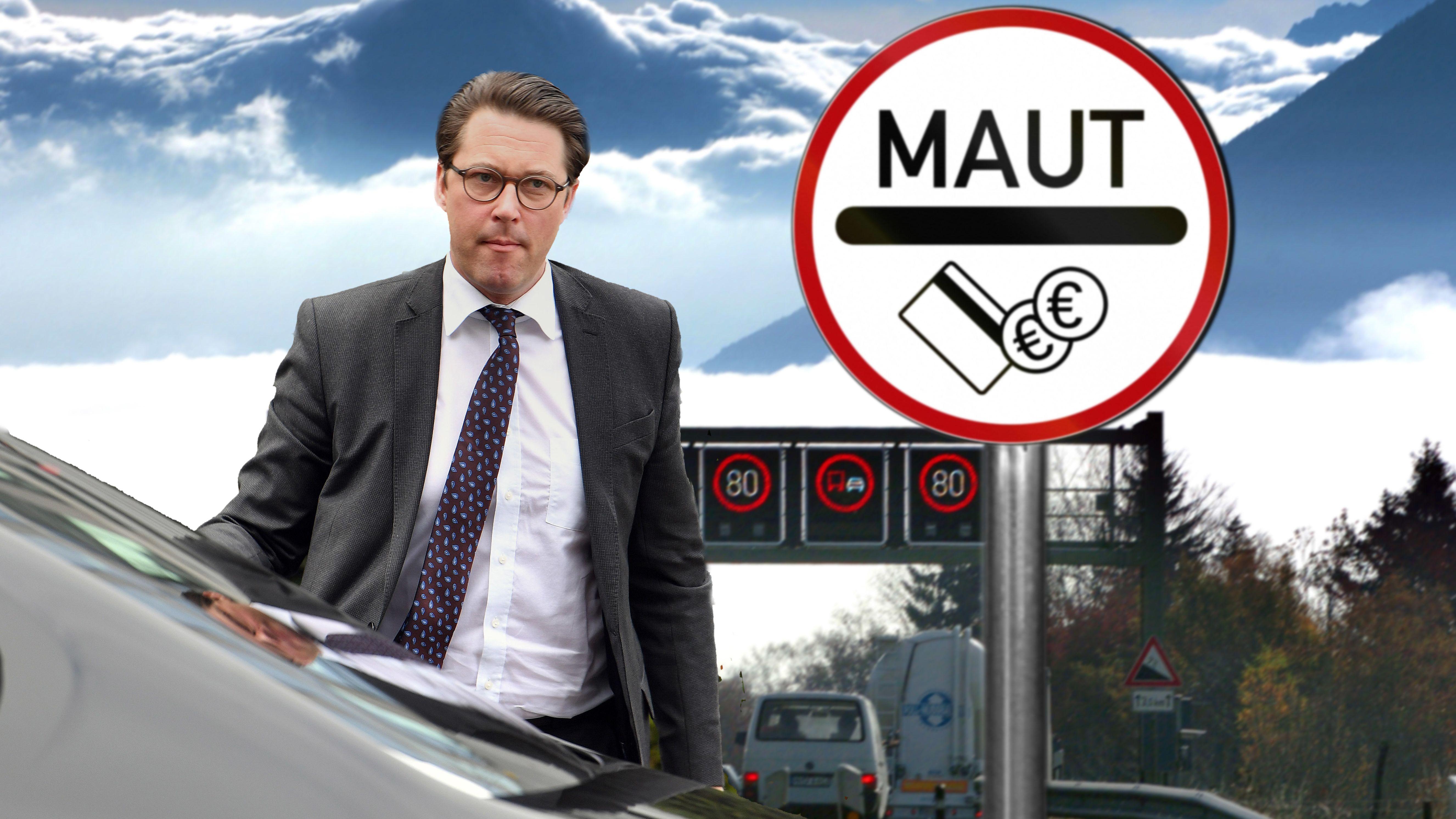 Bundesverkehrsminister Andreas Scheuer wegen Mautdebakels unter Druck. (Bildmontage)