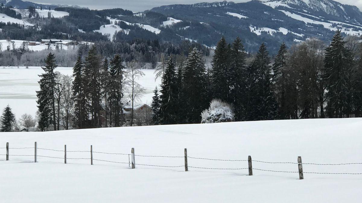 Verschneite Landschaft im Oberallgäu am Samstagvormittag