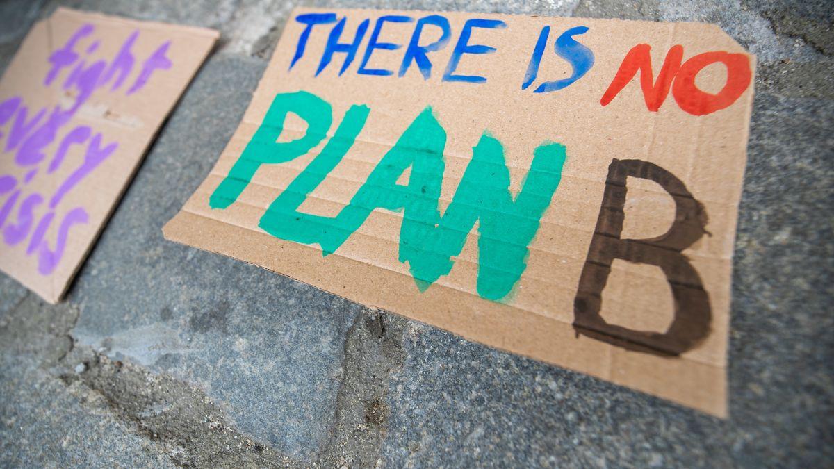 """Demo-Schild mit der Aufschrift """"There is no Plan B"""""""