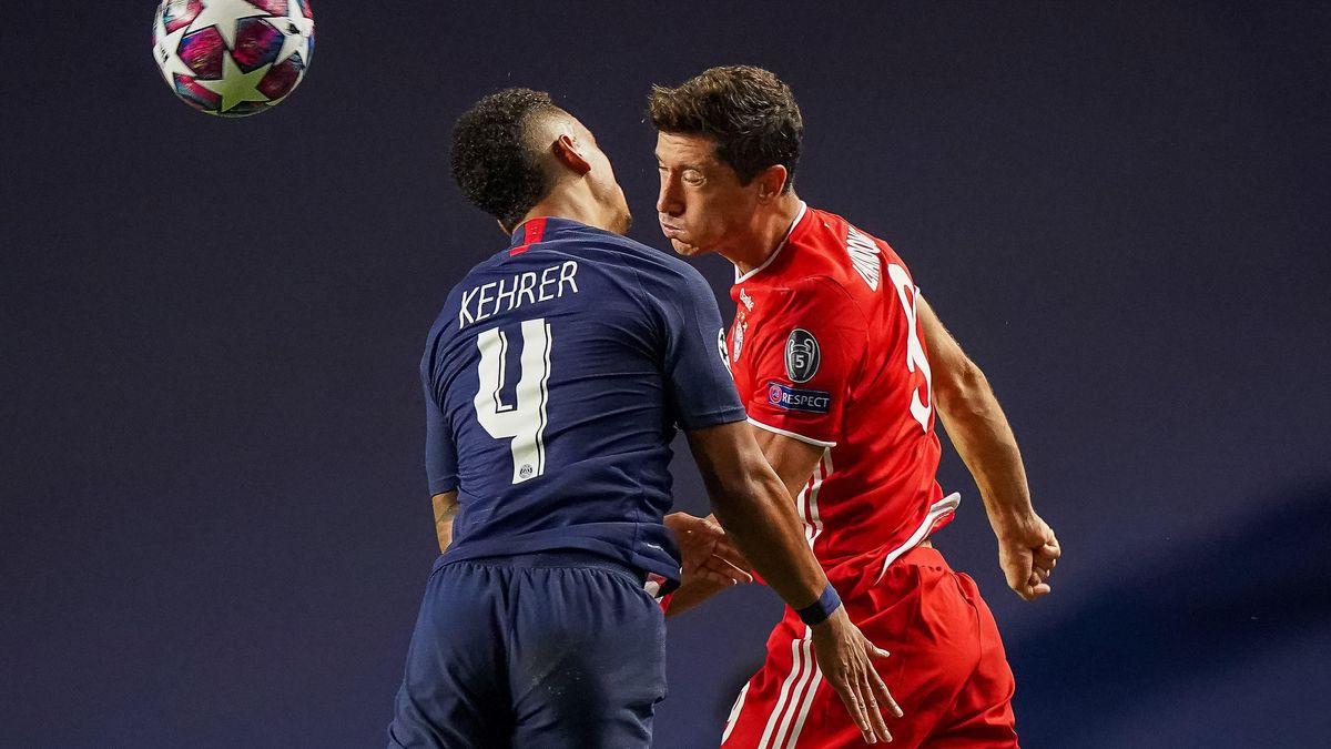 Bayern will sofort nachlegen. Thilo Kehrer im Kopfball-Duell mit Robert Lewandowski.