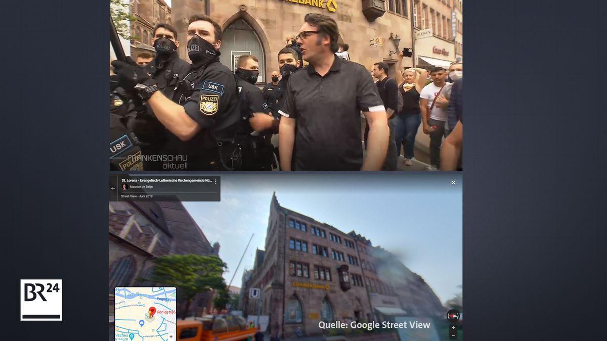 Ein Vergleich mit Google Street View zeigt, dass das Bild neben der Lorenzkirche aufgenommen wurde, wo auch die Demonstration stattfand.
