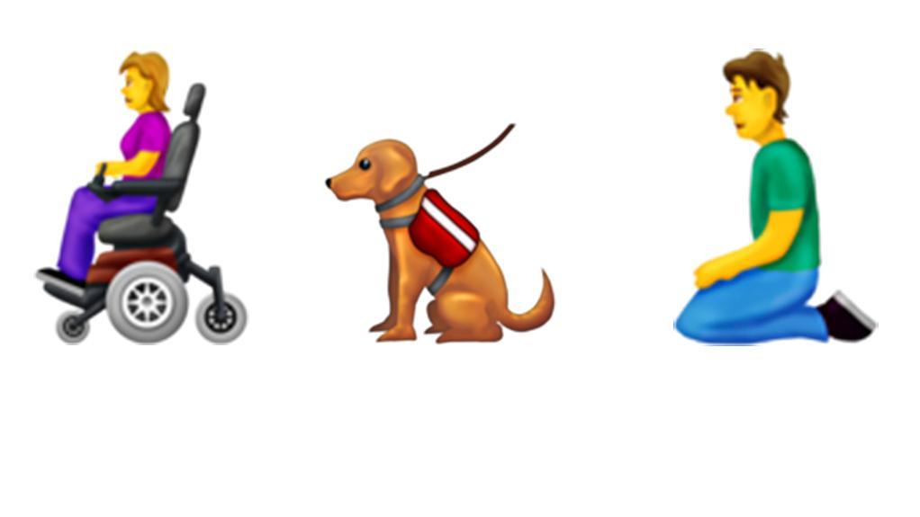 Das Bild zeigt neue Emojis, darunter eine Rollstuhlfahrerin, einen Blindenhund und einen knienden Mann.
