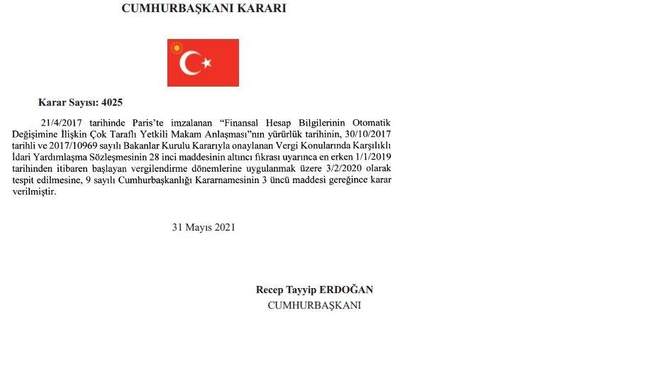 Dekret des türkischen Staatspräsidenten Erdogan im Original