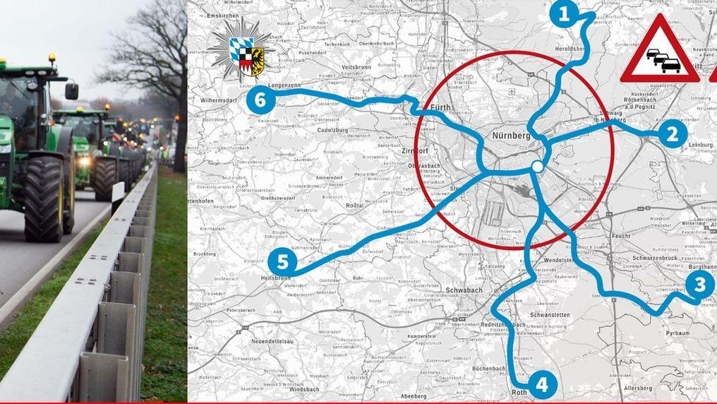 Karte der Polizei zur geplanten Traktorensternfahrt der Bauern nach Nürnberg